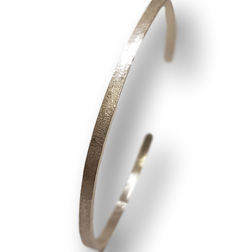 3mm Sterling Silver Textured  Cuff Bangle 432