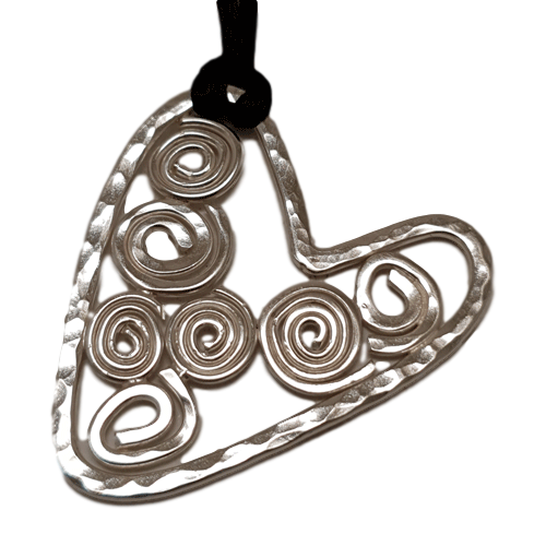 Large Silver Filigree Heart