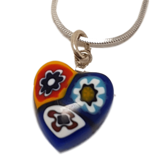 Millefiori heart pendant and chain