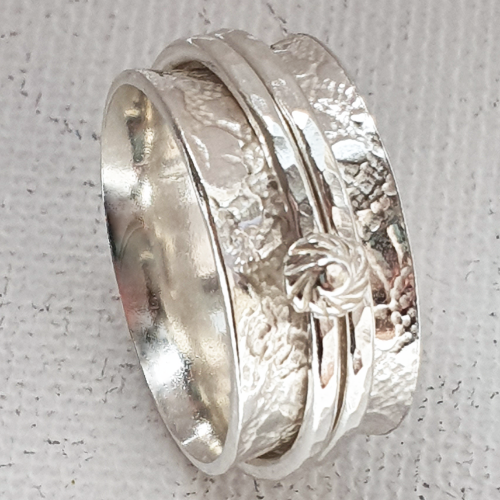 Silver Spinner Ring Button