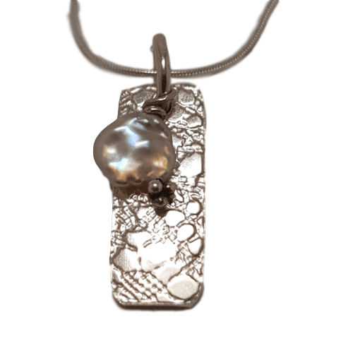 Sterling Silver Tag and Pearl Pendant