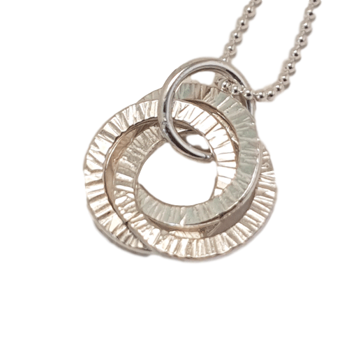 Tiny Russian Rings Silver Necklace