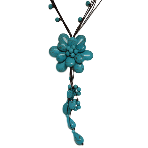 Turquoise Flower Bead Necklace